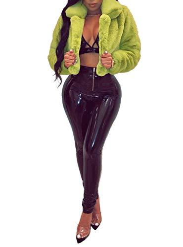 (Ophestin Women Solid Color Long Sleeve Shaggy Lapel Faux Fur Coat Short Jacket Outwear Warm Winter Green M)