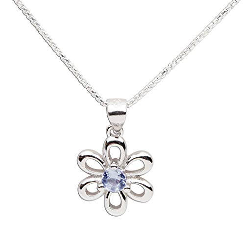 (Girls Sterling Silver Daisy Simulated December Birthstone Necklace for Children)