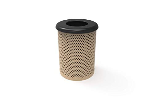 Coated Outdoor Furniture RFT-P-TAN Round Trash Receptacle with Flat Top, Liner Included, 32 Gallon, Tan ()