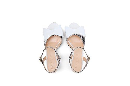 Sandalo 38 Santa Bianco 7 Donna Bianco Tacco Clara Vichy Fiocco Snw5T8Zv