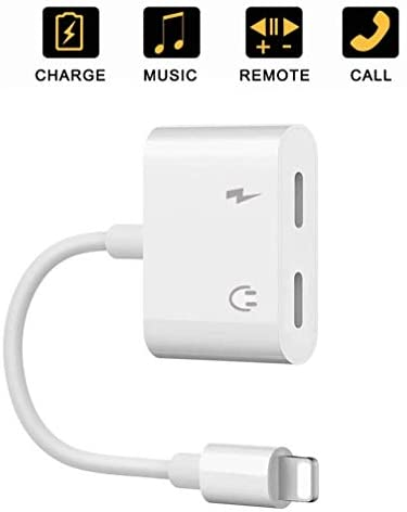 Kopfhörer Adapter für iPhone 11 Klinke Adapter AUX Audio [Anruf + Audio + Fernbedienung] Kompatibel mit iPhone XS/XS Max/XR/X/7/7 Plus/8/8 Plus/iPad Dual Kopfhörerkabel Konverter unterstützt alle iOS