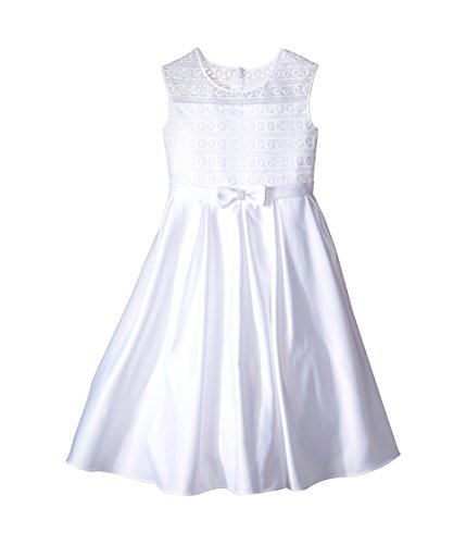 Us Angels Girl's Organza & Satin Sleeveless Dress w/Box Pleat (Little Kids/Big Kids) White 8