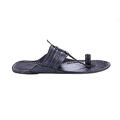 KOLHAPURI CHAPPAL Original Breathtaking Black Punching Men Slipper Sandal