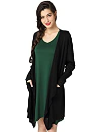 Womens Long Sleeve Winter Autumn Knit Open Drape Front Casual Solid Cardigan Sweaters with Pockets