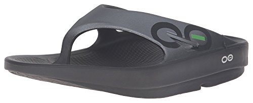 OOFOS Unisex Ooriginal Sport Thong Flip Flop,Black/Graphite,11 B(M) US Women/9 D(M) US Men