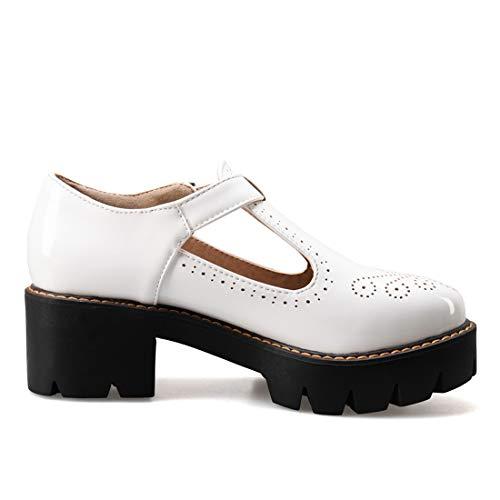 Bianco Blocco Donna Scarpe Vernice Medio A Eleganti Con Vitalo Comode Tacco Basse Cinturino Fibbia Plateau H6nfT
