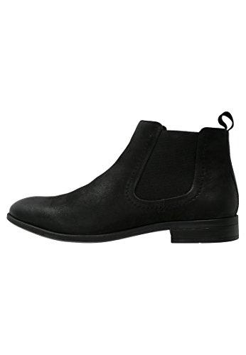 Pier One Chelsea Boots Herren Aus Leder in Schwarz oder Braun �?Casual Stiefel mit Kurzschaft �?Jodhpur Stiefelette Sportlich Elegant Schwarz Matt