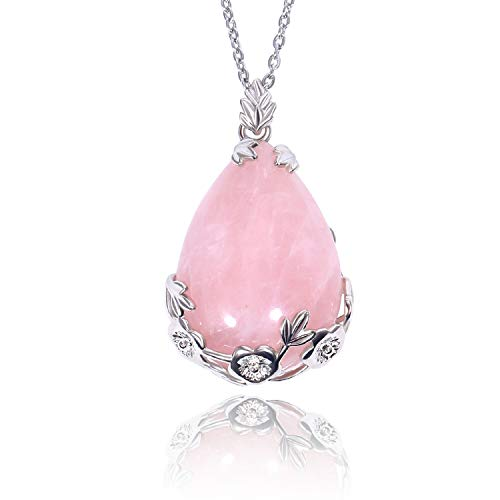 KISSPAT Natural Teardrop Rose Quartz Pendant Necklace on 20