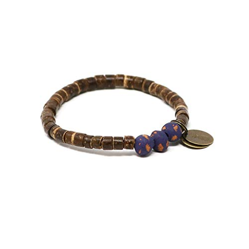 Bracelet Coconut Stretch Shell (Handmade in Haiti Dark Grape Coconut Pipeline Bracelet Made with Real Coconut Shell Pieces Clean Water for Haitians Fashion for A Cause)
