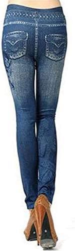 ADELINA Women's Jeans Fashion High Waist Stretch Sweat Pants Slim Fit Jeans with Pockets Skinny Cozy Jeans (Color : Schwarz, Size : One Size)