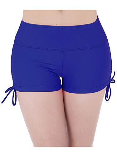 Hestya Women's Swim Shorts Solid Swimsuit Bottoms Quick Dry Swim Board Shorts with Adjustable Ties, S - XXXL (M, Royal Blue)