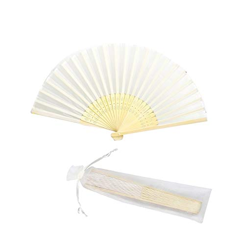 BeesClover 50Pcs Personalized Engraved Folding Hand Silk Fan Fold Vintage Fans with Gift Bag Customized Wedding Party Favors White by BeesClover