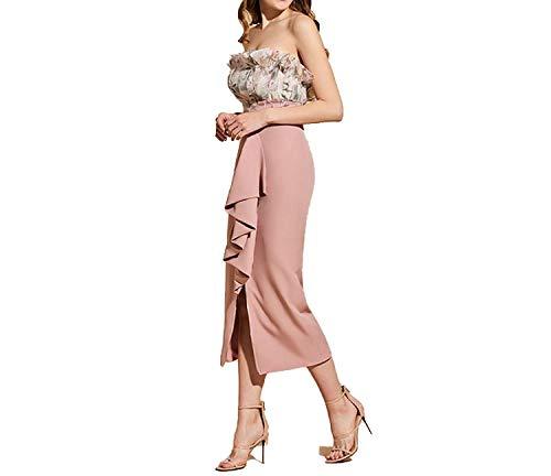 Sheath Column Strapless (Party Formal Cocktail Dress Elegant Strapless Tea Length Zipper up Sheath Split-Front Wedding Dress,8)