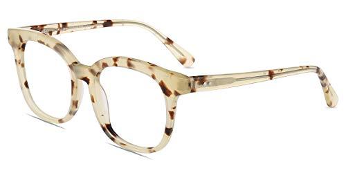 Firmoo Optical Eyeglasses Frame for Prescription Glasses, Oversized Square Classic Black Eyewear Clear Lens Frame (Ivory ()