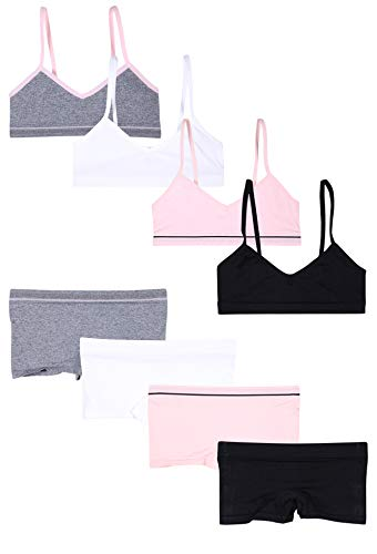 Sweet & Sassy Girls' 8-Piece Seamless Training Bra and Boyshort Underwear Set, Black/Pink/White/Grey, Size - Black Boyshort Set