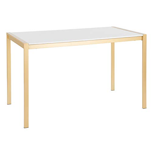 LumiSource Modern Dining Table in Gold Metal with White Marble Top Finish ()