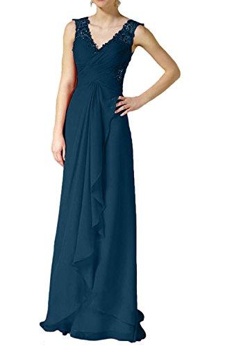 Charmant Blau Spitze Abschlussballkleider Abendkleider Rot Damen Partykleider Tinte Lang Bodenlang Chiffon ffx6Brv