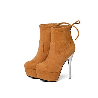 RTRY Women's Shoes Suede Fall Winter Comfort Novelty Fashion Boots Bootie Boots Stiletto Heel Round Toe Booties/Ankle Boots Lace-up For US7.5 / EU38 / UK5.5 / CN38 cEpNV