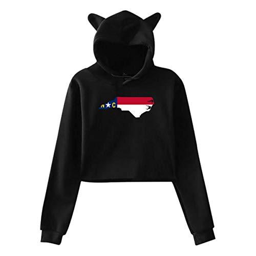 Women's Girls Cat Ear/Unicorn Pullover Hoodie Sweater North Carolina Map Long Sleeve Cropped Sweatshirts ()