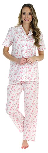 Sleepyheads Women's Sleepwear Cotton Short Sleeve Button-Up Top and Pants Pajama Set (STCP149SPR-MED)