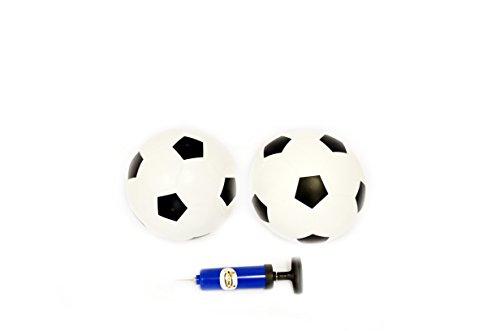 Le Petit Sports - Soccer Rubber Balls (Size 4) SET of 2 + Pump (white/black)