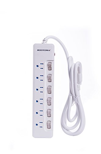 ROOTOMA Multi-outlet Independent Switched Power Strip/ Surge Protector with Overloading Protection (6-outlet 8 ft cord) (Outlet Switched Ac)