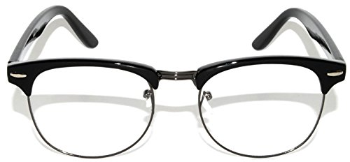 New Classic Sunglasses Black-Gun Metal Half Frame Clear Lens Retro - New Frames Glasses