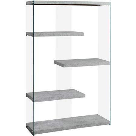 Contemporary 4 Shelf Bookcase Accent, Fixed Display Shelves with Sturdy Thick Tempered Glass, 36.00