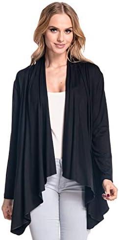 Zeta Ville Damen Blazer Mantel Wasserfallausschnitt Shirtjacke Strickjacke 320z