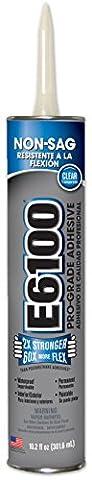 E6100 252011 Medium Viscosity Industrial Adhesive Cartridge, 10.2 fl oz Clear (Concrete Slump)