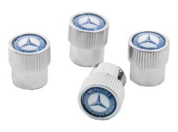 Mercedes Benz Genuine Valve Stem Caps with (Blue Laurel Wreath)