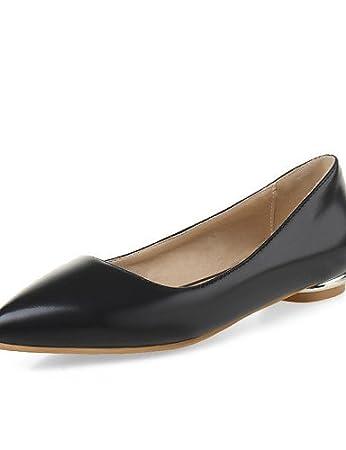ZQ Zapatos de mujer - Tac¨®n Plano - Punta Redonda - Planos - Exterior / Casual / Deporte - Semicuero - Negro / Azul / Rosa / Blanco , black-us4-4.5 / eu34 / uk2-2.5 / cn33 , black-us4-4.5 / eu34 / uk