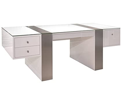 Amazon.com: Premium Modern Executive Office Desk in White ...