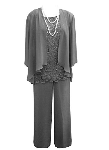 Women's 3 Pieces Lace Chiffon Mother of Bride Dress Pant Suits with Jacket Outfit for Wedding Groom(US 20 Plus, Dark Grey)