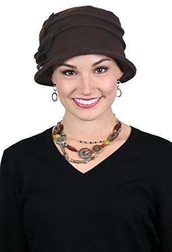 Brown Headwear - Fleece Flower Cloche Hat for Women Cancer Headwear Chemo Ladies Head Coverings (Dark Brown)