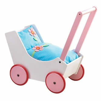 rs - Wooden Doll Buggy with Bedding (Made in Germany) ()
