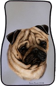 Fawn Pug Car Floor Mats - Carepeted All Weather Universal Fit for Cars & Trucks