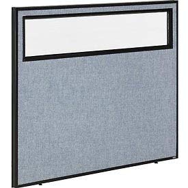 48-1/4''W x 42''H Office Partition Panel with Partial Window, Blue