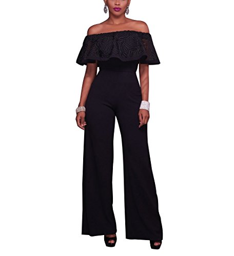 Big Leg Women (Off the Shoulder Ruffle High Waist Wide Leg Jumpsuits for Women Black, X-Large)