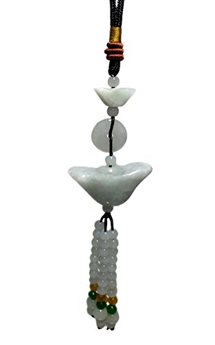 Feng Shui Chinese Jade Yuan Bao / Ignot Hanging Charm for wealth Luck (with a Betterdecor Gift Bag)