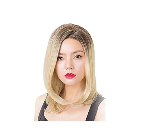 Rabbitgoo Women's Wig Blonde Wig Medium Length Straight Wig for Halloween Costume Synthetic Wig 19.6