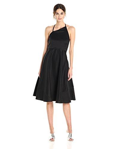 Betsey Johnson Women's Stretch Cotton Fit and Flare Halter Dress, Black, - Dress Halter Johnson Betsey Apparel