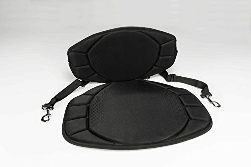 Pelican Boats - Sit-on-top Kayak or SUP Seat - PS0480-3 - Universal Fit Water Repellent Cushion with Back Support, Black