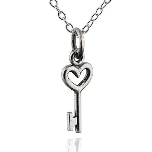 Sterling Silver Tiny Heart Skeleton Key Charm Necklace, 18