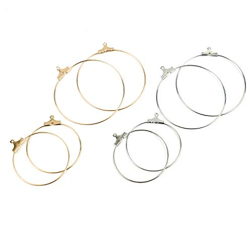 Pomeat 40Pcs Round Beading Hoop Earring Finding Wing Glass Charm Rings Earring Hooks for Jewelry Making - 30mm,40mm (Gold, Silver)