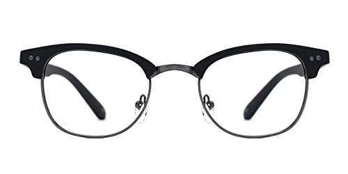 Slocyclub Mens Bold Browline Semi-Rim Metal Frame Eyeglasses