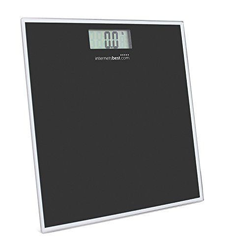 Internet's Best Digital Body Weight Bathroom Scale | Tempered Glass | LCD Display | Bathroom Accessories | Compact Design | 330 lbs. Weight Capacity | Black by Internet's Best