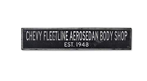 Wooden 1948 48 Chevy Fleetline AEROSEDAN Body Shop Established Date - Rustic Sign - 11.25 x 60 Inches
