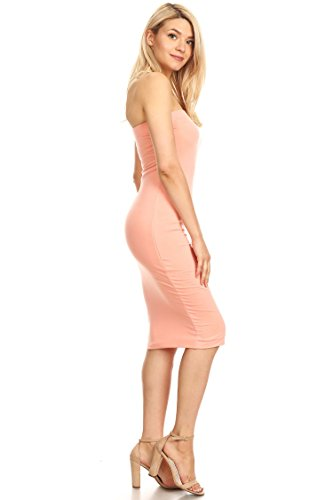Con Dress Hdr00019 Top Women's Midi USA Tube Body Lined Peach in Made xYqwHvI