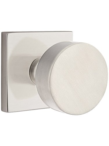 Square Rosette Door Set with Disc Knobs Passage in Satin Nickel